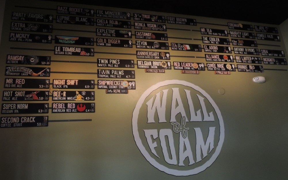 The Wall of Fame at Naughty Oak Brewery