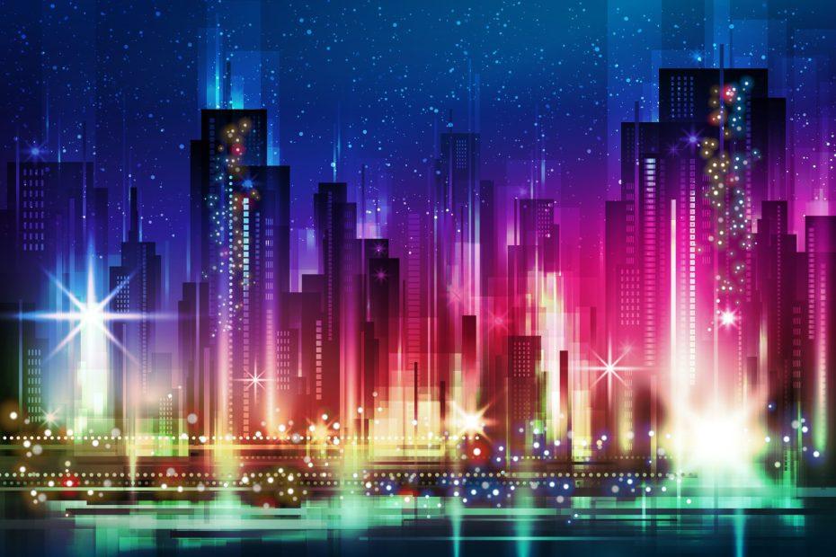 nightcityillustrationwithneonglowandvividcolors