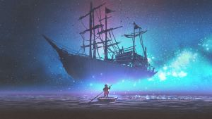 Young boy rowing a boat in the sea and looking at the sailing ship floating in starry sky, digital art style, illustration painting