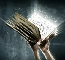 Holding magic book with flying letters