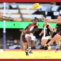 Brad Hill delivers the sherrin during the Rd 13 encounter between St Kilda and Brisbane at the Gabba in 2020