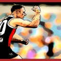 Nick Hind celebrates his goal against Essendon in Round 12, 2020, The Animal Enclosure celebrates All The Goals.