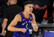 LAKE BUENA VISTA, FLORIDA - SEPTEMBER 11: Michael Porter Jr. #1 of the Denver Nuggets reacts during the fourth quarter against the LA Clippers in Game Five of the Western Conference Second Round during the 2020 NBA Playoffs at The Field House at the ESPN Wide World Of Sports Complex on September 11, 2020 in Lake Buena Vista, Florida. NOTE TO USER: User expressly acknowledges and agrees that, by downloading and or using this photograph, User is consenting to the terms and conditions of the Getty Images License Agreement. (Photo by Michael Reaves/Getty Images)