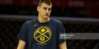 LOS ANGELES, CA - FEBRUARY 28:  Denver Nuggets center Nikola Jokic (15) stone face before the Denver Nuggets vs Los Angeles Clippers game on February 28, 2020, at Staples Center in Los Angeles, CA. (Photo by Jevone Moore/Icon Sportswire via Getty Images)