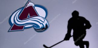 TORONTO, CANADA, 17. JULY: Colorado Avalanche Concept photo. silhouette of profesiional NHL hockey player