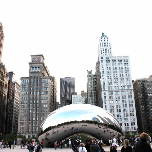 "Cloud Gate sculptor aka ""the bean"" and Chicago skyline"
