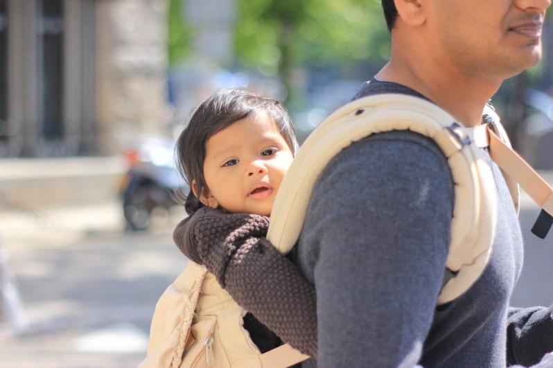 Asha in sling in Amsterdam