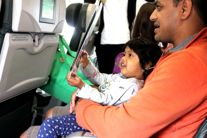 Asha and Devang in a plane