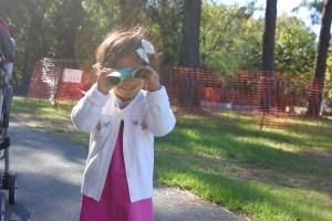 Asha at NCMA with her binoculars