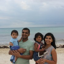 Family shot not he beach in Playa del Carmen, Mexico