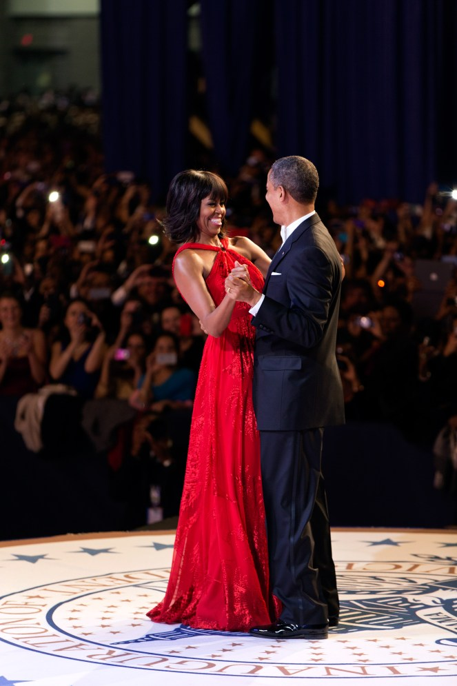 President Barack Obama and First Lady Michelle Obama dance during the inaugural ball at the Walter E. Washington Convention Center in Washington, D.C., Jan. 21, 2013. (Official White House Photo by Pete Souza) President Barack Obama and First Lady Michelle Obama dance together during the inaugural ball at the Walter E. Washington Convention Center in Washington, D.C., Jan. 21, 2013. (Official White House Photo by Pete Souza) This official White House photograph is being made available only for publication by news organizations and/or for personal use printing by the subject(s) of the photograph. The photograph may not be manipulated in any way and may not be used in commercial or political materials, advertisements, emails, products, promotions that in any way suggests approval or endorsement of the President, the First Family, or the White House.