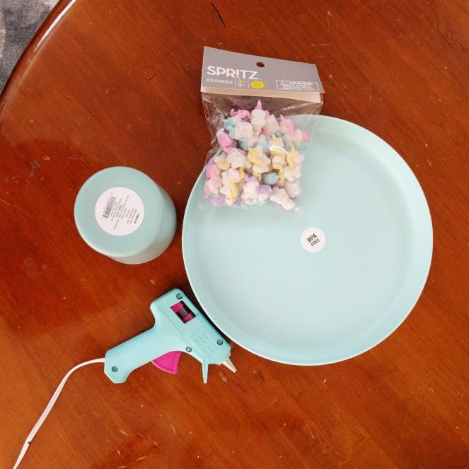 Supplies to make Unicorn Cake Stand