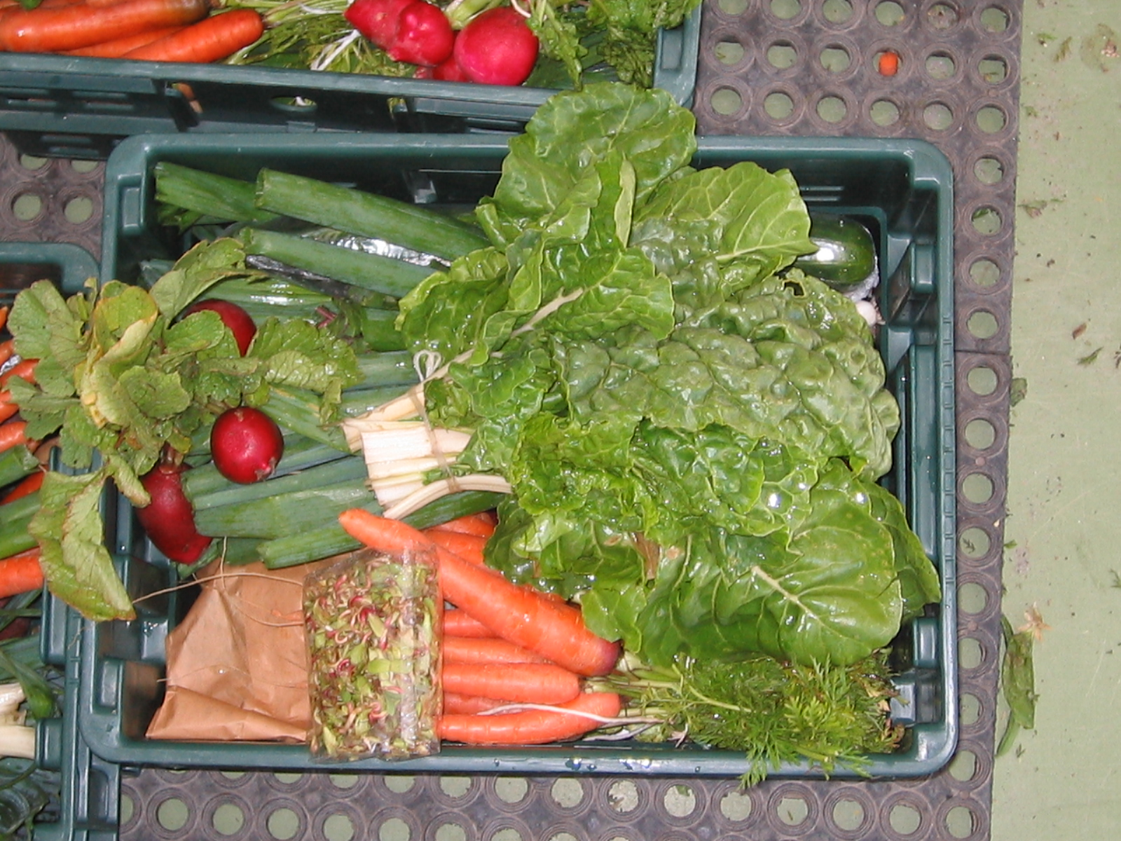 A box of organic veggies ready for delivery