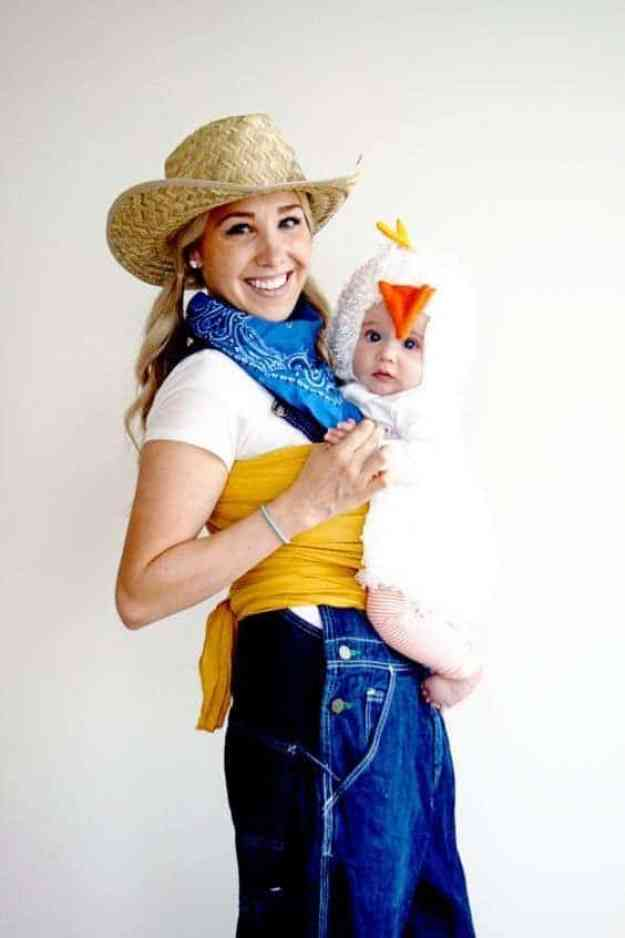 Creative Babywearing Halloween Costumes - Farmer & Chicken