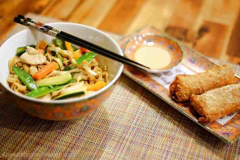 Celebrate Chinese New Year with Chicken Lo Mein & Shrimp Egg Rolls {Recipes}