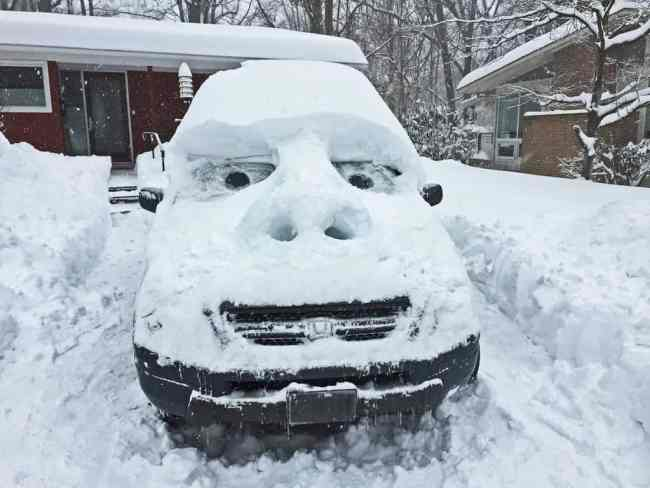 Fun Activities for the Kids to Do in the Snow: Snow Faces on Cars