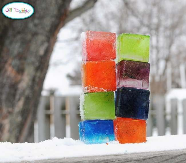 Fun Activities for the Kids to Do in the Snow: Colored Ice Blocks
