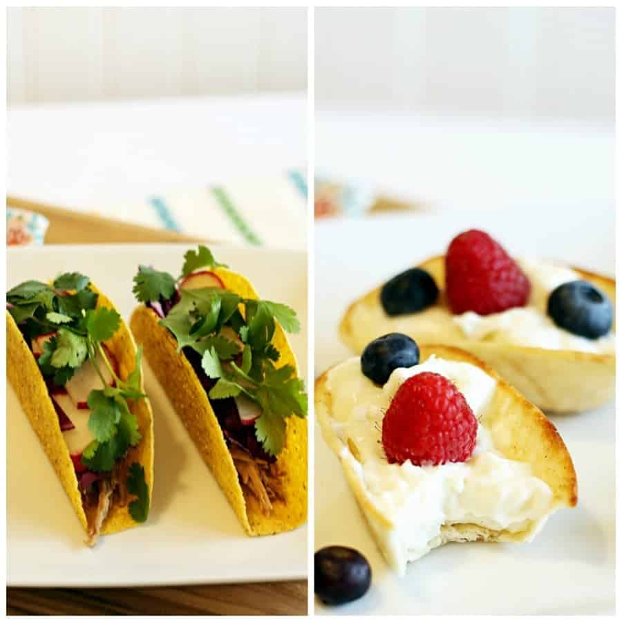 Tacos Two Ways: Pork Carnitas & Cheesecake Churro Dessert Tacos #OEPBigGame @walmart AD