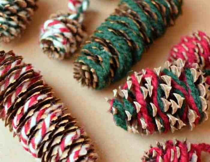 Christmas Pinecone Crafts for Kids and Adults - yarn pinecones #christmas #crafts #diy #pinecones #holidays #xmas #christmascrafts
