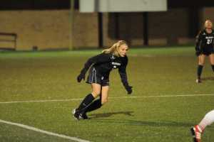 Senior Jenn Bass looks to head back on defense. Photo Courtesy: App State Athletics/Dave Mayo