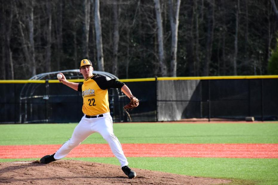 Freshman right-handed pitcher Seth Hardin pitches during the App vs. North Carolina Central game on March 30. 12-1 (W). Photo by Halle Keighton.