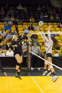 Senior middle blocker, Ashton Gregory, spikes the ball against South Alabama on Friday evening. It was senior night for the girls and the game resutled in a loss for Appalachian State with the score being 2-3.
