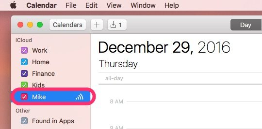 Mike's shared calendar now appears in King Gordius's list of calendars on his Mac.