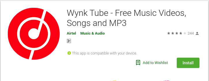 Wynk tube Logo from google play store