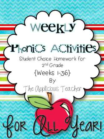 Weekly Phonics Activities- Student choice Homework for the entire year!