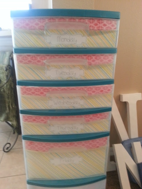 Classroom storage solution: use a plastic tower to house your lesson plans and supplies for the week!