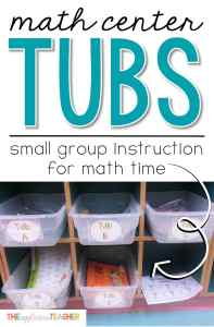 Math Center Tubs- small group instruction for math time. Great alternative to a rigid grouping schedule. This post outlines how this second grade teacher sets up her bins, how she organizes her students. This could save my math small group instruction!
