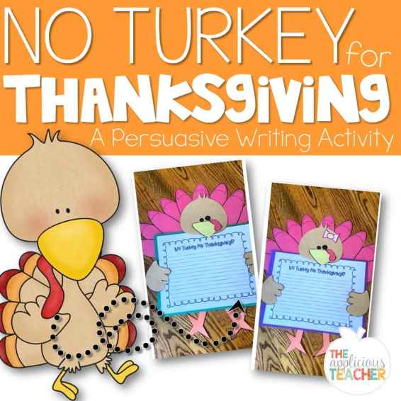 No Turkey for Thanksgiving Writing craft activity