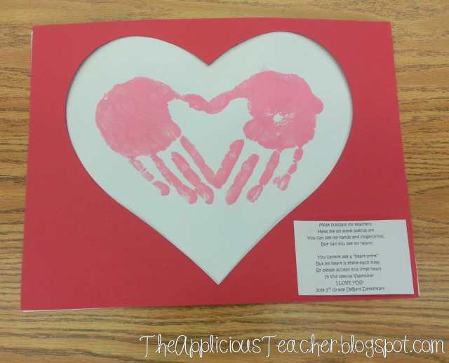 Valentine's Day heart print hand print craft and poem