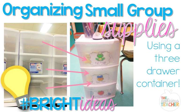 Organize your small group supplies with a 3 drawer storage container. Assign each drawer to one of your groups, then pull and fill supplies each week. Tuck it underneath your table when it's not in use.