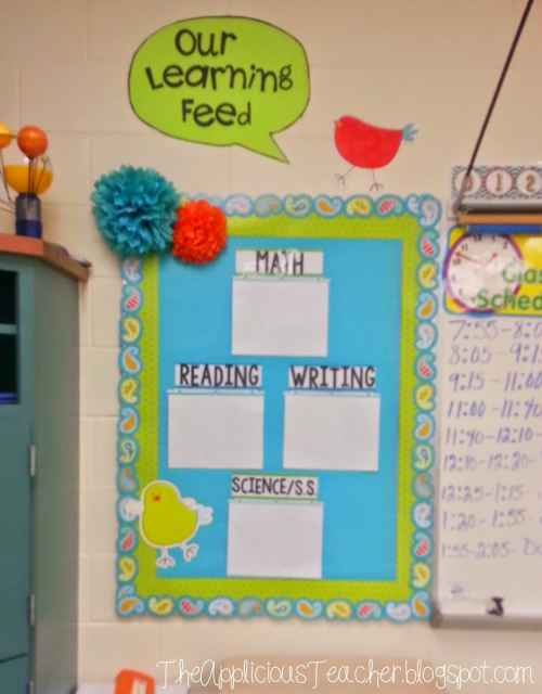 focus board, objective board, classroom decor idea