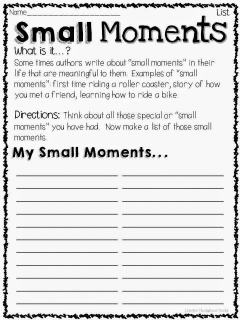 Small moments writing: generating ideas list printable