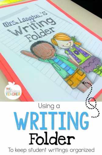 Using a writing folder to keep student writings organized