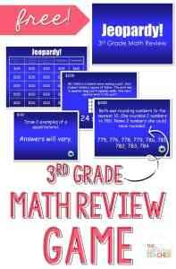 Math Review Jeopardy PowerPoint Game- Love this review game for 3rd grade! and it's free!