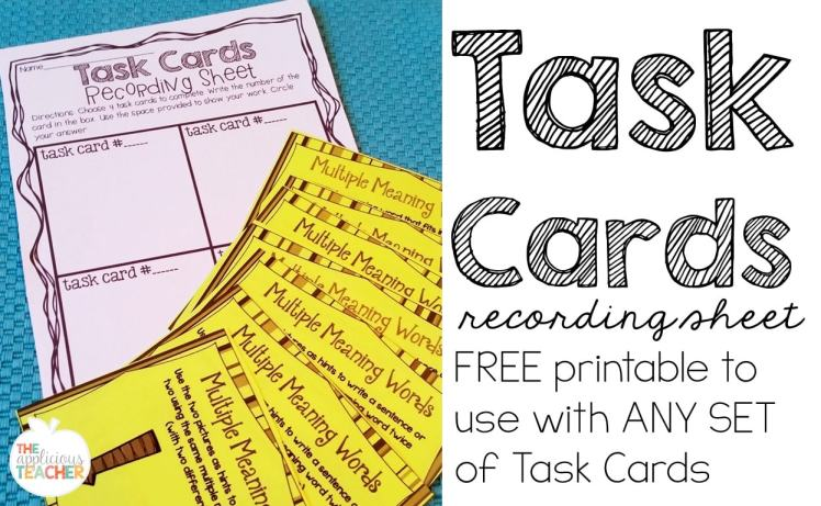 Task card recording sheet- now you can help your students complete task cards without having to do ALL of the stack!