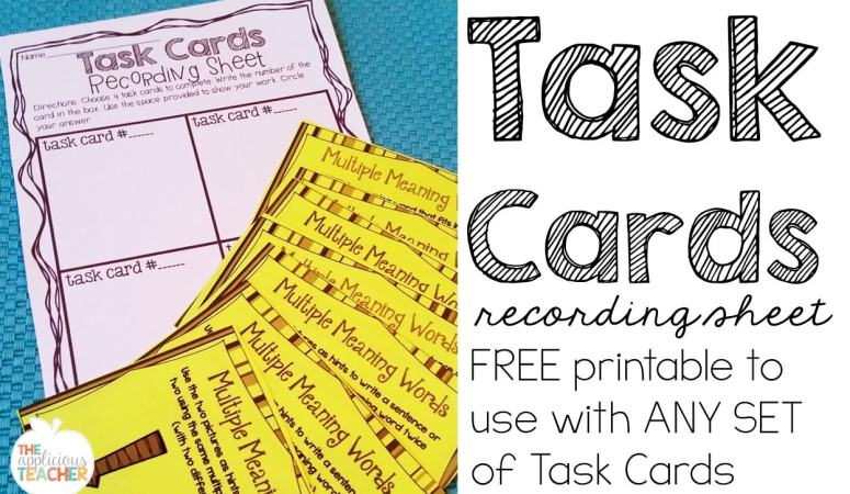 Task Cards Recording Sheet FREEBIE