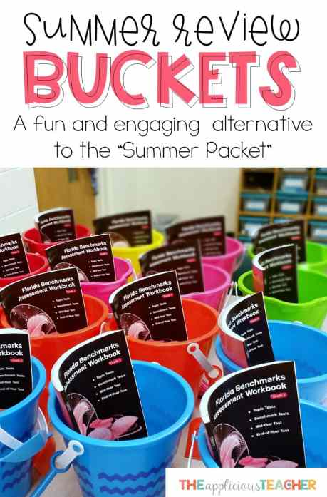 Summer Review Buckets- The perfect alternative to summer review packets. Student created and easy to prep.