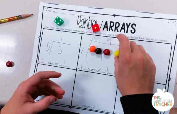 rainbow array- super cute activity building arrays using skittles