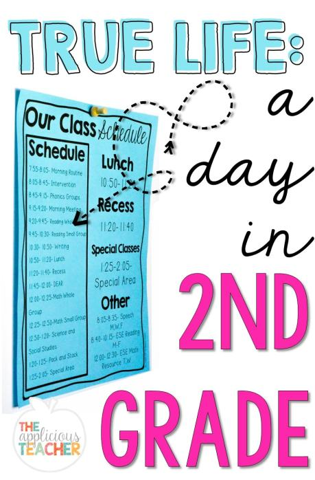 "A look at a second grade schedule. Perfect post to answer the question, ""What do you DO all day?"" theAppliciousteacher.com #backtoschool #secondgrade #schedule"