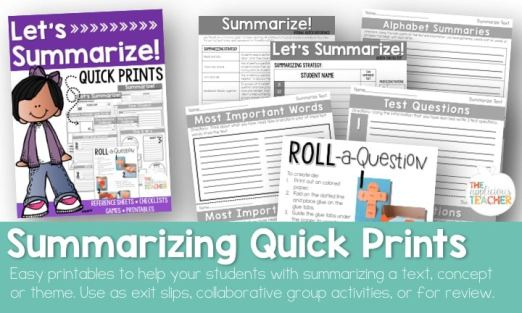 Summarizing text printables and worksheets.
