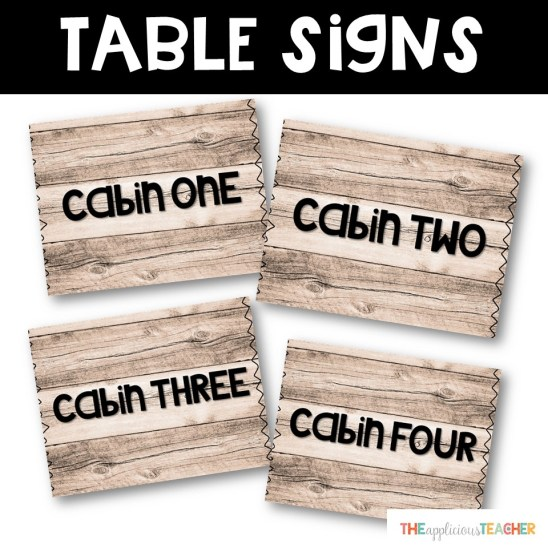 third grade training camp table signs