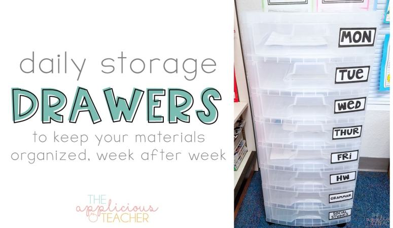 daily storage drawers help keep your teaching materials organized through out the week