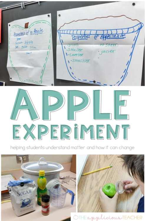 Use apples to help students understand how heat can change matter. Love this idea for a september science experiment or better understanding properties of matter