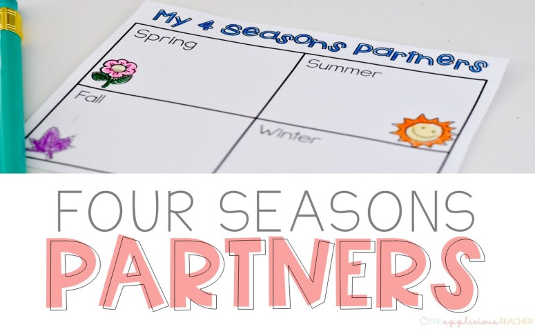 Four Seasons partners- perfect way to help students find a buddy or group to work with in a quick and easy way- Theappliciousteacher.com