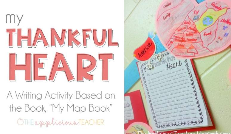 My thankful heart- a thanksgiving writing activity about we are most thankful for- theappliciousteacher.com
