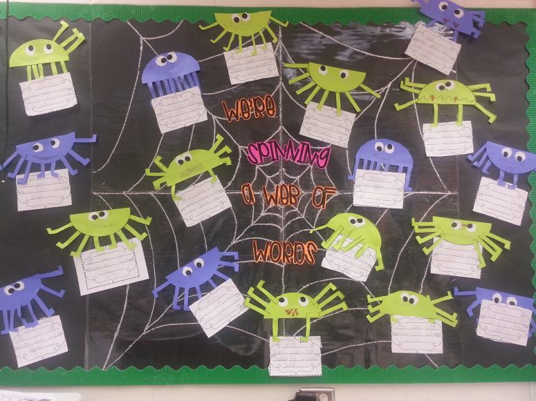 We're spinning a web of words spider bulletin board- The Applicious Teacher